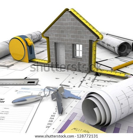 A house under construction on top of a table with mortgage application form, calculator, blueprints, etc.. - stock photo