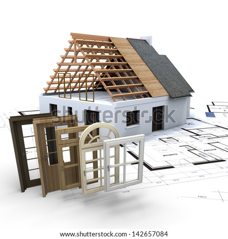 A House Under Construction With Blueprints And Selection Of Windows Doors