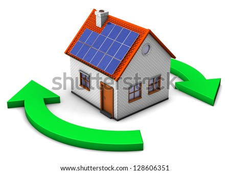 A house with eco symbol on the white background.