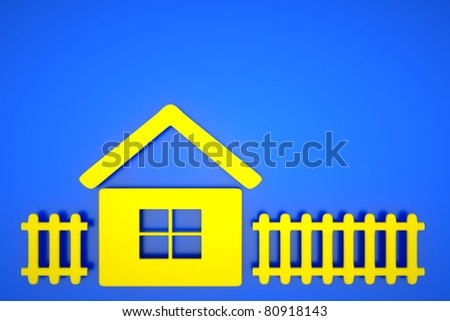 a house with fence on blue - stock photo