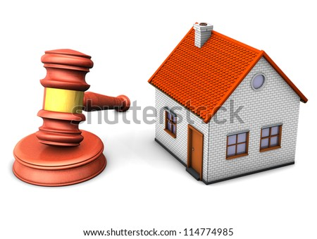 A house with hammer on the white background. - stock photo