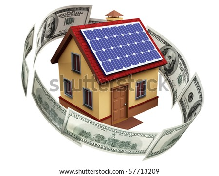 A house with solar panels - stock photo
