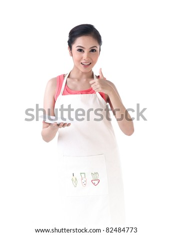 A housewife holding an empty dish , for you to put your product on it
