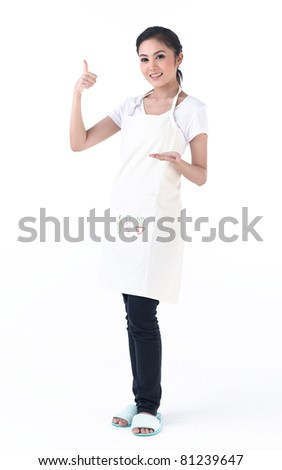 A housewife with her empty hand for holding your product - stock photo