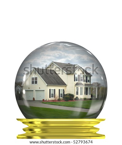 A housing crisis concept with a home in a crystal ball isolated over white.  A great concept for predicting or foretelling the changes in the real estate market. - stock photo