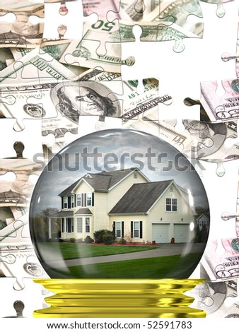 A housing crisis concept with a home in a crystal ball with a money puzzle background.  A great concept for predicting the changes in the real estate market. - stock photo