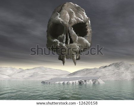 A huge cloud of Co2 in the form of an ominous skull hovering over the North Pole