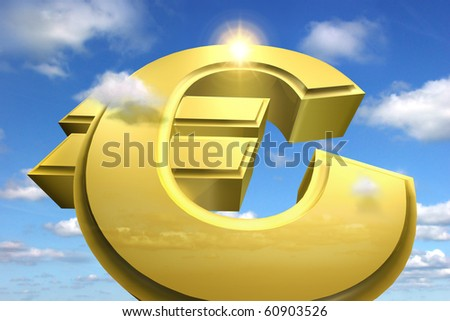 A huge euro sign rising to the sky symbolizes financial success and a great profit - stock photo