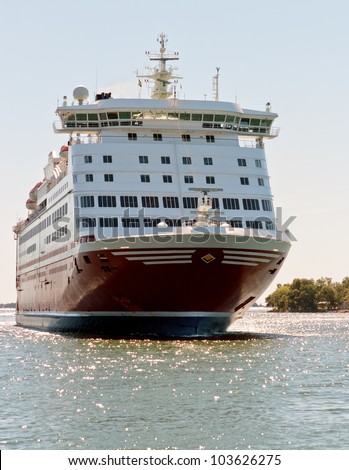A huge ferry on the way from Mariehamn (Finland) to Stockholm (Finland) - stock photo
