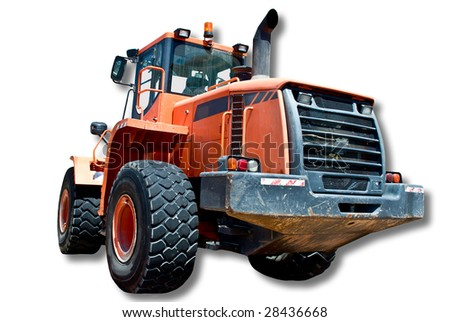 A huge four wheel tractor used for hauling loads