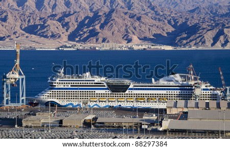 A huge luxury cruise ship at Eilat marine international port, Israel - stock photo