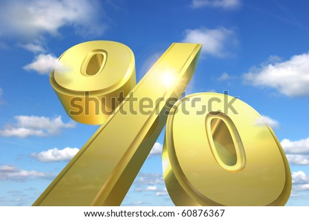 A huge percentage sign rising to the sky symbolizes financial success and a great return on investment - stock photo