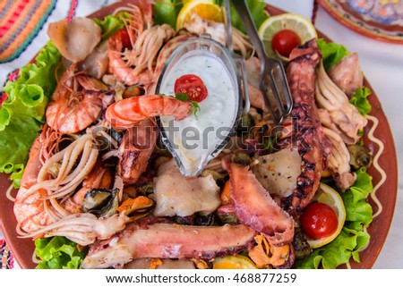 A huge plate of seafood