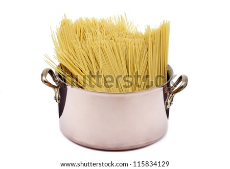 A huge pot of spaghetti ready to be cooked