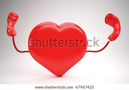 A huge red  heart using the phone - stock photo