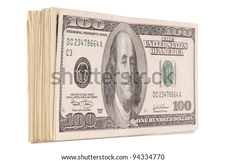A huge stack of one-hundred dollar bills