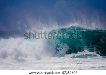 A huge wave is crashing on the beautiful Hawaii Oahu's North Shore - stock photo