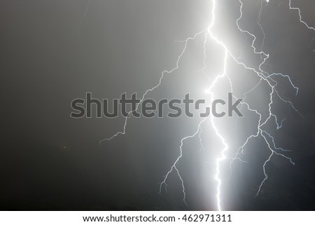 a hugh lightning in the fore ground