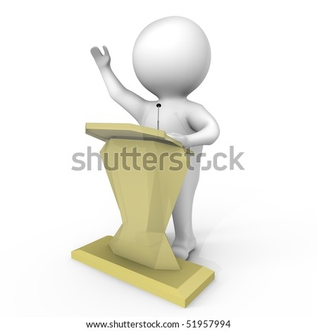 A human behind a podium - a 3d image - stock photo
