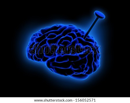 A human brain pierced by a nail and black background - stock photo