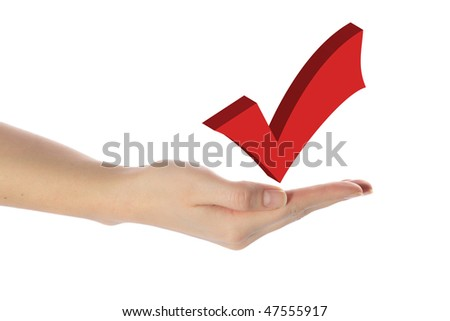 A human hand balancing a check sign. All isolated on white background.
