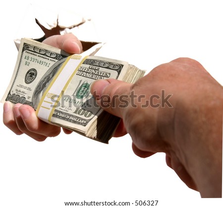 A human hand crashes through an isolated white wall while handing a pile of cash to a different persons hand.