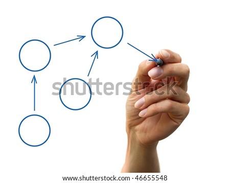 a human hand drawing a process diagram - stock photo