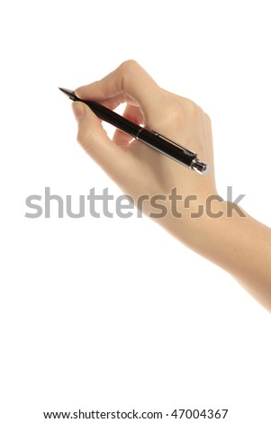 A human hand holding a pencil. All isolated on white background.