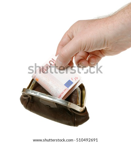 A human hand holding a ten euro bank note in a brown purse, isolated on white background.