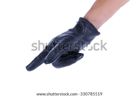 A human hand in black leather glove making a shooting gesturing, isolated on white background - stock photo