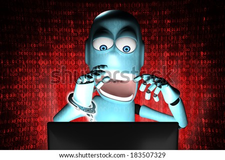 A human shaped Robot arrested in front of a computer  - stock photo