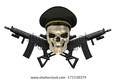 A human skull wearing an Army General's hat with crossed rifles - 3D render. - stock photo