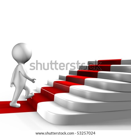 A human walking the red carpet - 3d image - stock photo