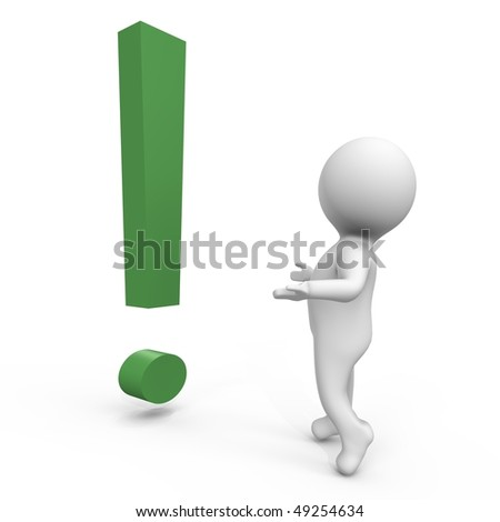 A human wondering what this exclamation is - a 3d image - stock photo