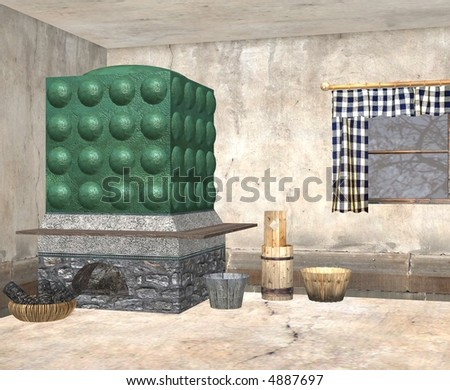 A humble cottage with the bare essentials set out. - stock photo