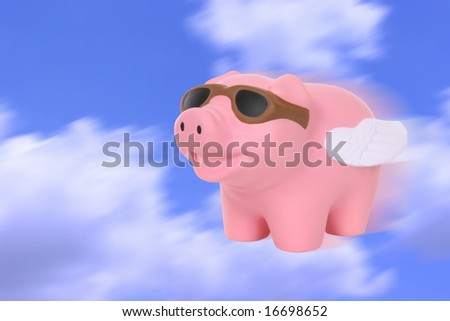 A humorous metaphor signaling when pigs fly - stock photo