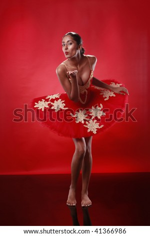 A humorous outlook to being a ballerina - stock photo