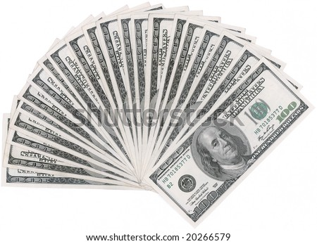 A Hundred dollar fan isolated with clipping path - stock photo