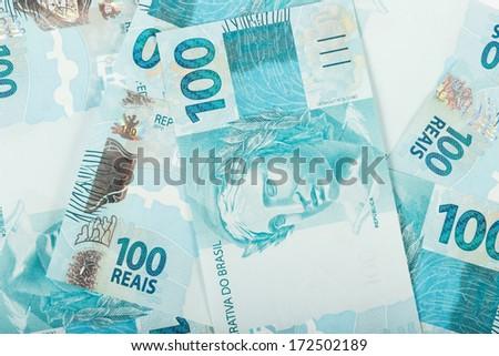 A hundred reais bills (brazilian money) - stock photo