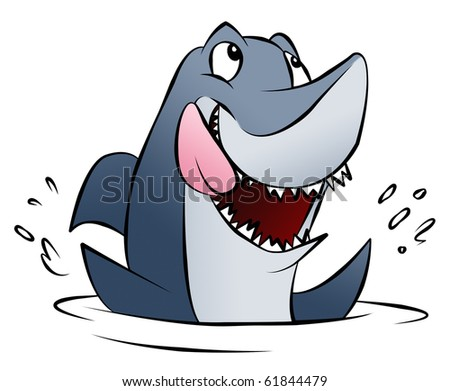 A hungry cartoon shark splashing in the water. - stock photo