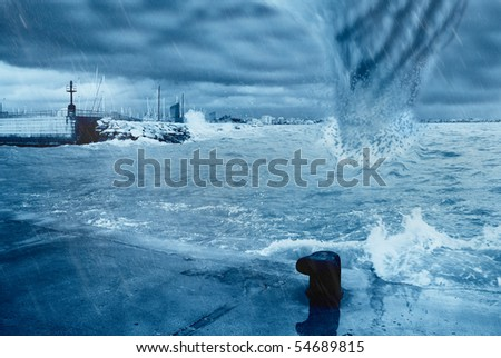 a hurricane hits the dock - stock photo