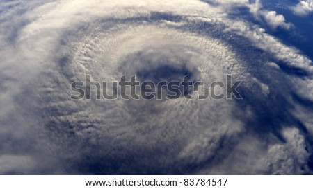 A Hurricane on Earth viewed from space (rendered image) - stock photo