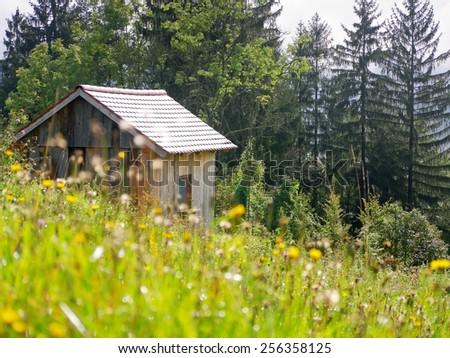 A hut in a rural landscape in Styria, Austria.  - stock photo