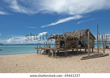 A hut near the beach in Sabah, Malaysia - stock photo