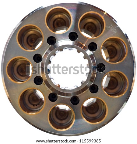 A Hydraulic Hydrostatic Piston Pump Rotating Group Isolated on White - stock photo
