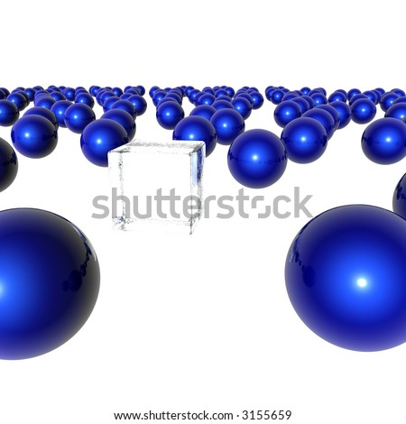 A ice cube stands out in a crowd of blue spheres