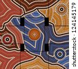 A illustration based on aboriginal style of dot painting depicting civilization - stock photo