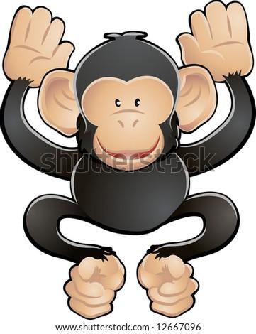 A  illustration of a cute friendly chimpanzee - stock photo