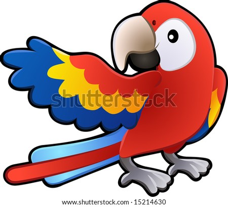 A  illustration of a cute friendly Macaw Parrot - stock photo