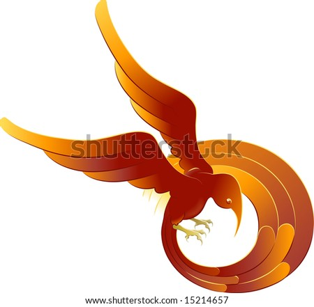 A  illustration of a swooping stylised bright orange bird - stock photo